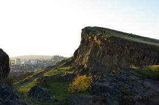 Salisbury Crags looking towards Edinburgh city centre